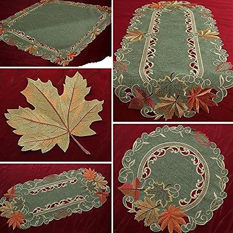 Hojas de otoño Camino de mesa Mantel Mantel Deck Chen Arce Verde Amarillo Naranja, poliéster, 40 cm x 140