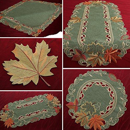 hläufer Tischdecke Mitteldecke Deckchen Ahorn Grün Gelb Orange (ca. 40 x 90 cm Oval) (Herbst Blätter Tischläufer)