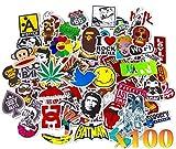 100 autocollants stickers couleurs fun pour smartphone, auto, ordinateur, casque, skate.