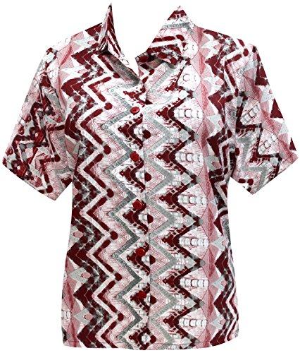 Hawaii-Hemd Blusen-Taste nach unten entspannt fit Frauen mit kurzen Ärmeln Lager kastanienbraun Kastanienbraun