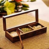 ExclusiveLane Wooden Hand Engraved Multi-Utility Cum Spice Box With Spoon In Sheesham Wood - Spice Rack Spice Holders Masala Container