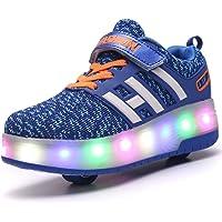 Enfants LED Luce Chaussures Doubles roulettes Bouton Poussoir Adjustable Inline Skates Baskets Chaussures Sneakers