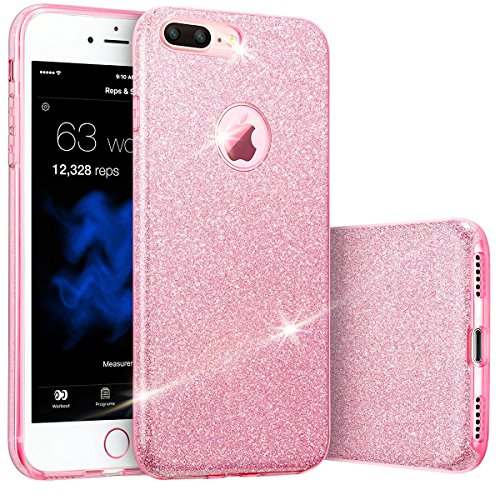 Ego® Custodia Cover per cellulare glitterata per iPhone Back Case Bumper lucido trasparente Gel, in Silicone flessibile e perfetto. Hybrid TPU con PC materiale da urti, graffi e pericoli quotidiani. rosa Pink für iPhone 6 6S