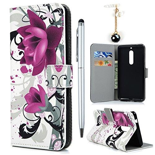 Hülle für Nokia 5 Case Cover YOKIRIN Lederhülle Handyhülle PU Leder Schutzhülle Flipcase Schale Handytasche Magnetverschluss Kunstleder Bookstyle Tasche mit Kartenfach und Ständer Blumen