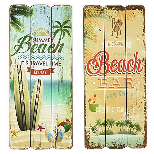 Preis am Stiel 2er Set Holzbilder \'\'Beach\'\' | Wandbild | Sommer Party | Küche | Holz Deko Wohnzimmer | Wohnaccessoire | Retro Design | Deko Balkon und Garten | Cocktailbar | Poolparty