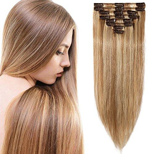 Extension capelli veri clip meche- 50cm/70g #12/#613 marrone chiaro/biondo chiarissimo- 8 fasce remy human hair