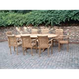 Humber Imports MONTE CARLO 17 PIECE 8 FOOT TOP GRADE SVLK COMPLIANT TEAK DINING SET NEW 2016 MODEL