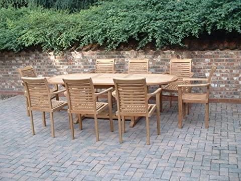 Humber Imports MONTE CARLO 17 PIECE 8 FOOT TOP GRADE SVLK COMPLIANT TEAK DINING SET NEW 2017 MODEL
