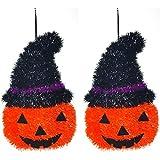2x zucca 3D Tinsel cavo da appendere alla parete targhe spaventoso decorazione di Halloween horror party accessori