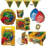Dino-Party Dinosaurier T-Rex Party Teller Becher Servietten Tischdecke Einladungen Mitgebsel-Tüten Girlande Luftballons 48tlg. für 6 Kinder