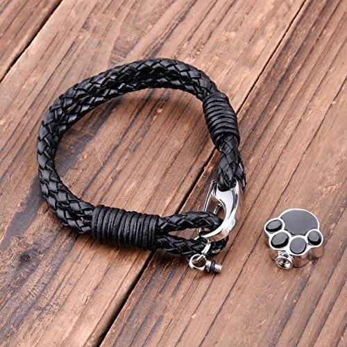 Pet Paw Verbrennung Armband Memorial PU Leder Armband Andenken Schmuck
