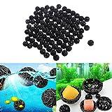 Houkiper 100 stüCke 16mm Schwarz Bio Balls Filter Sieb Medien Filtration Ball für Aquarium Teich
