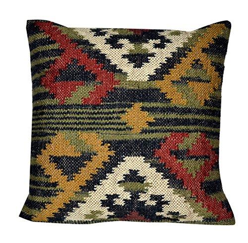 Chouhan Rugs Indische handgewebte Kelim Kissenbezug, 45,7 x 45,7 cm, dekorative Jute, quadratische Kissenbezüge -