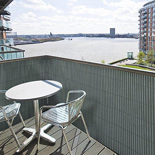 Floordirekt PVC Sichtschutz für Garten, Balkon & Terrasse Sichtschutzzaun | Sichtschutzmatte | Outdoor-Sichtschutz | Erhältlich in Vielen Farben und Größen (100 x 500 cm, Grau)