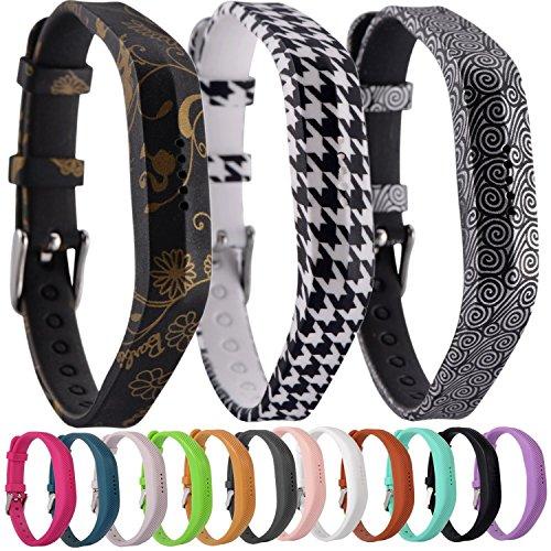 Greatfine Uhrenarmband Fitness-Armband Silikon Ersatzband Armband für Fitbit Flex 2 Fitness-Band Zubehör (Bat/Gold Flower/Yun 3pcs)