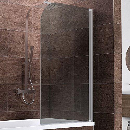 Schulte Duschwand Berlin, 80x140 cm, 5 mm Sicherheitsglas grau anthrazit, alu-natur, Duschabtrennung für Badewanne