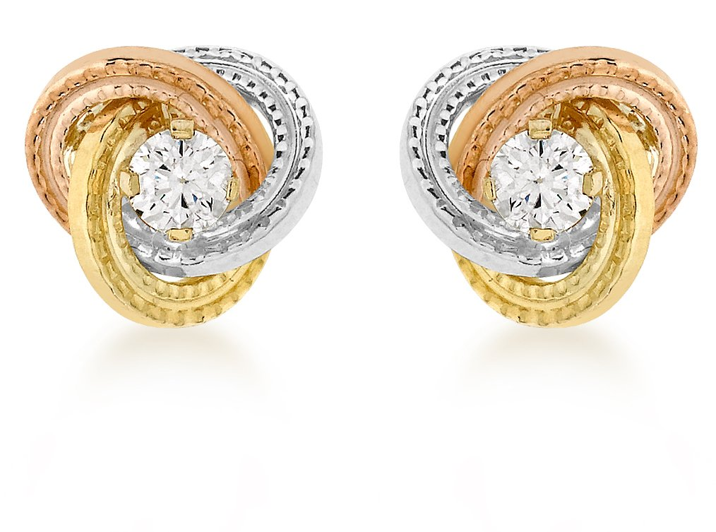 Carissima Gold 9ct 3 Colour Gold 8mm Knot and Cubic Zirconia Stud Earrings