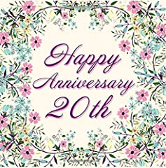 Idea Regalo - Happy Anniversary 20th: Pink Floral Guest Book for 20th Anniversary, Wedding, Birthday, Memorial