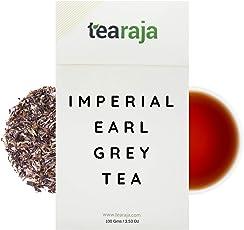 Tearaja Imperial Earl Grey Tea 100 GMS Makes 50 Cups | 100% Natural Bergamot Oil | Premium Black Tea | Floral & Citrus Flavour | Fresh Loose Leaf | Nitrogen Flushed, Vaccum Sealed for Freshness.