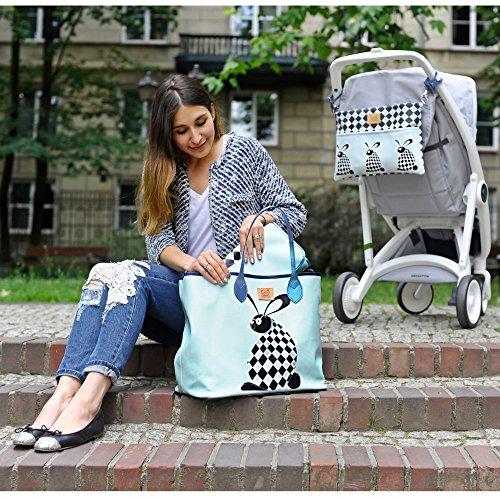 Sevira Kids Sac à langer - sac a main, Borsa tote donna beige Sweet Family Chessboard 45 x 29 cm (+/- 2 cm) Dreamcatcher Bleu