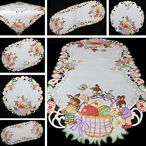Quinny shop primavera coniglietto pasquale uova colorate ricamo runner tovaglia misura a scelta in poliestere, bianco, poliestere, bianco, 30 x 160 cm