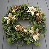 "16"" inch Artificial Gold Poinsettia / Holly Christmas Wreath for indoors and outdoors"
