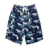 KOSBON Summer Men's Swimming Trunks Coconut Tree Pattern Pantaloncini da spiaggia ad asciugatura rapida (5XL, Blue)