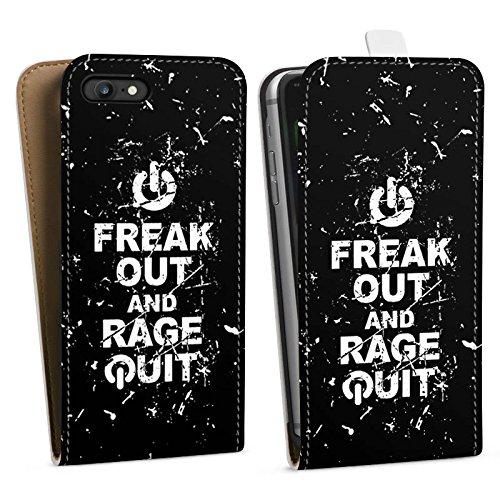 Apple iPhone X Silikon Hülle Case Schutzhülle Gamer Spruch Rage Quit Downflip Tasche weiß