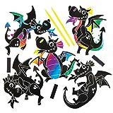 """Kratzbild-Magnete """"Drache"""" für Kinder zum Gestalten, Basteln und Aufhängen – Kreatives Bastelset für Kinder (10 Stück)"""