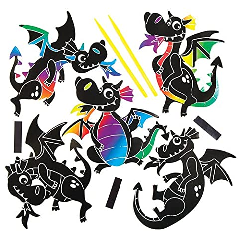 Dragon Scratch Art Magnets Kit for Children to Design Make and Display - Creative Craft Set for Kids (Pack of