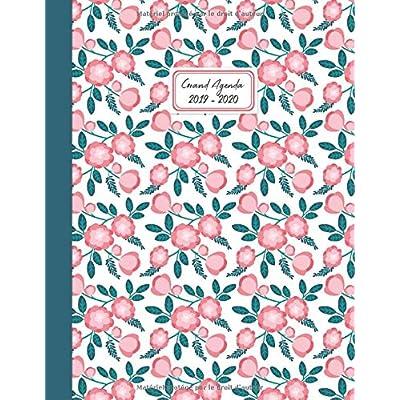 Grand Agenda 2019-2020: Agenda de Juillet 2019 à Juillet 2020, Semainier grand format 21x28cm, simple & graphique, idéal prise de rendez-vous, motif floral vintage rose et vert