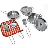 Brigamo Lot de 9 ustensiles de cuisine en métal pour enfant