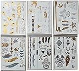 180 Temporäre Metallic Tattoo auf 12 Bögen Aufkleber Body Schmuck Gold Silber Anthrazit