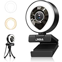1080P Webcam mit Mikrofon, Full HD Facecam Live-Streaming Webcams mit Ringlicht, Stativ, 360° Schwenkradius JIGA, USB…