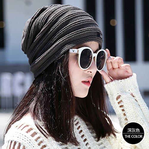 Wolle Winter Hut weibliche Verdickung Cashmere gestrickt hat winddicht warme Mütze F (Weibliche Piraten Hut)