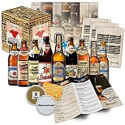 Especialidades de cerveza Franconia (las mejores cervezas de francos suizos) como unpaquete de prueba para la caja de regalo giftin 9 x 0, 5 l + información sobre thebeers + degustación instrucciones +suplementos + caja de regalo