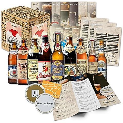Specialità di birra della Franconia (le migliori birre da franchi svizzeri) come unaconfezione di prova per il contenitore di regalo giftin 9x0,5l + informazioni thebeers + degustazione istruzioni +integratori + scatola regalo
