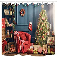 SuyuttiER Curtain Christmas Living Room With Christmas Tree And Gift Box Shower Curtain Bathroom Decor,Polyester Mildew Durable Waterproof Curtain 60X72 Inch
