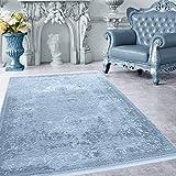 Hochwertiger Acryl Teppich in Barock Stil mit Ornament, Borduere und Fransen, 3D effekt 5 Groessen Blau meliert Wohnzimmer, Gästezimmer, Flur, Schlafzimmer, Läufer, Größe:120x180 cm
