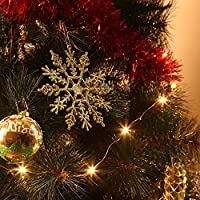Zogin Colgante de copo de nieve para la decoración de árbol de Navidad, 24 unidades, color plata y oro
