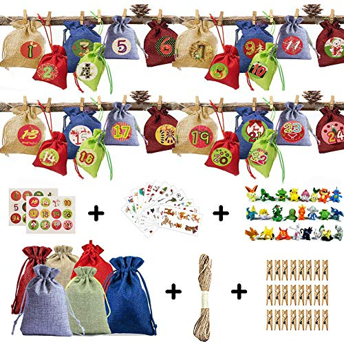 Funmo 24 Calendrier de l'Avent-Sac en Tissu, 24 Numérique Autocollants, 12 Autocollants de Noël, 24 Pokémon Mini, DIY Noël Cadeaux Sacs à Pendentifs de décorations