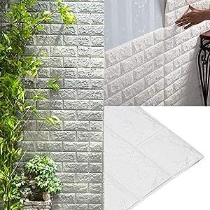 AllRight 10 PCS 3D Tapete Selbstklebend Steinoptik Wandpaneele Ziegelstein Wandaufkleber 77 x 70 cm (Weiß)