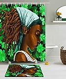 YCRD Duschvorhang Digitaldruck Wasserdicht Mehltau Badezimmer Zubehör Dekoration - Afrikanisches Mädchen (Einschließlich Fußmatten),E,180×180Cm