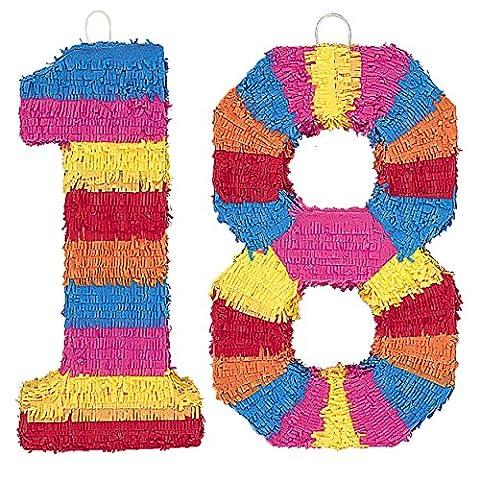 Piñata Zahl 18 - der knallbunte Partyspass für einen tollen achtzehnten Geburtstag