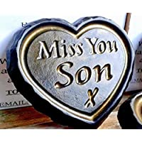 """Miss You Son"" Black & Gold ENGRAVED STONE Heart Memorial Graveside Garden Plaque"