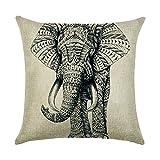 hengjiang Kissen Southeast asiatischen Stil Elefant Gemälde 120g Dicke Baumwolle Leinen doppelseitig 45,7x 45,7cm 45x 45cm Überwurf Kissen für Home Sofa Bett Deko 08