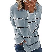 SMENG Damen Color Block Lace Triple Hoodies Streifen Pullover Langarm Tops