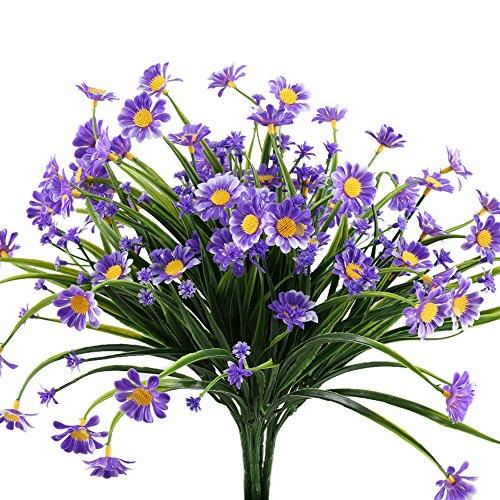 Blumen Künstliche Sträucher (4 Pcs Kunstblumen Deko, Nahuaa Gänseblümchen unrechte Badzimmer Künstliche Blumen Strauch für Party Hochzeit Wohnung(Gelb))
