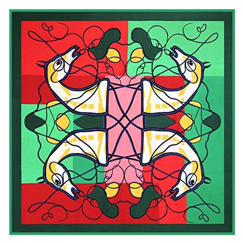 Ich eng Handtuch_Trend 130 cm Köper richtig eng Schal, Grün, vier Pferd Kopf 130 cm