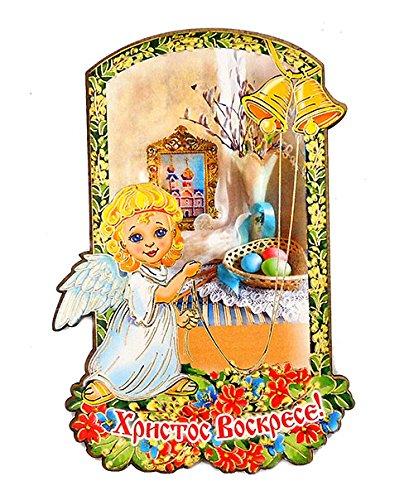 Religious Gifts Russische Holz Ostern Magnet Christ ist Risen Angel Bells Kirche Eier 10,2cm